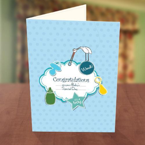 Baby Boy Feeder Baby Naming Card