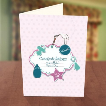 Baby Girl Feeder Baby Naming Card