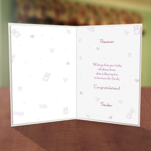 Baby Girl Feeder Baby Naming Card Inner