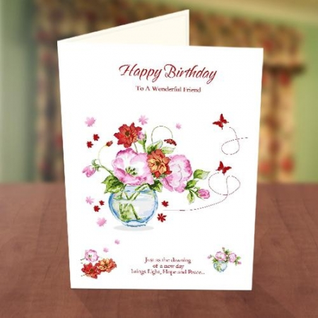 Colourful Flower Vase Birthday Card
