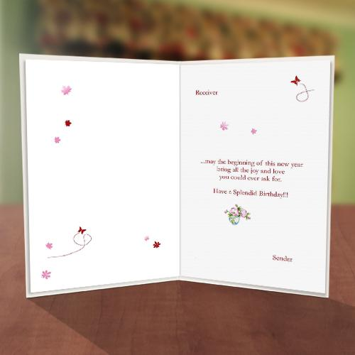 Colorful Flower Vase Birthday Card Inner
