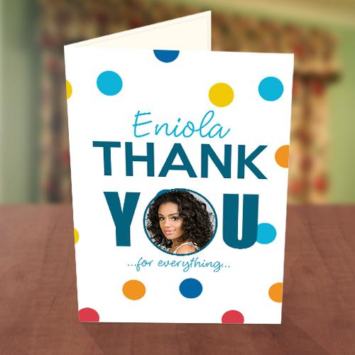Colourful Polka Dot Thank You Card Front