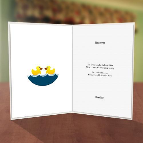 Ducks on Water Friendship Card Inner