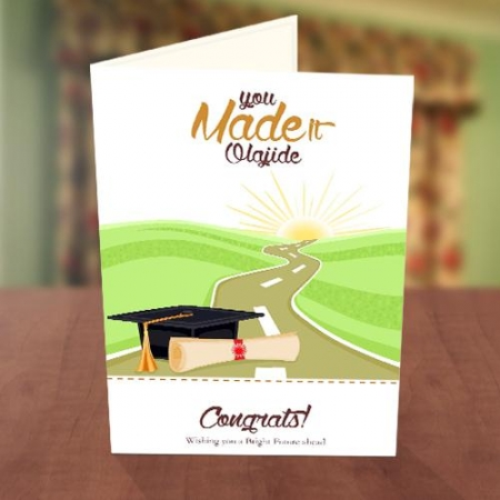 Graduation Cap on Road Card
