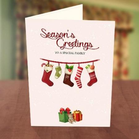 Hanging Socks Christmas New Year Card