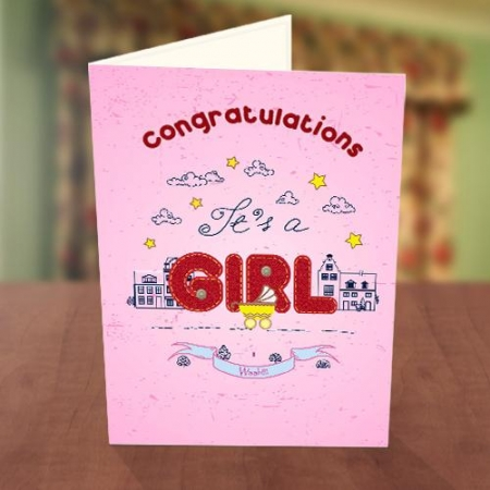 Girl Baby Naming Card