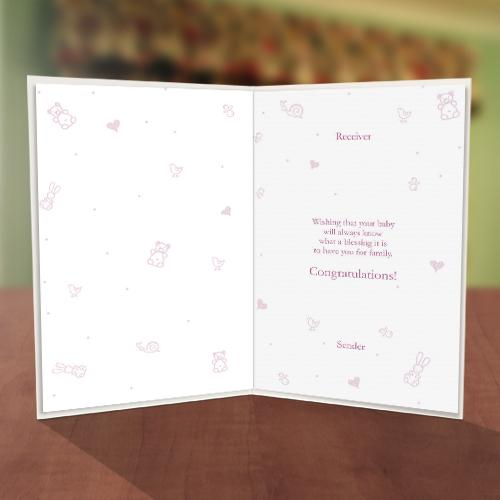 It's a Girl Baby Naming Card Inner