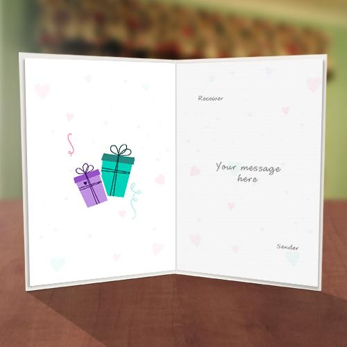 Love shape & Gift Boxes Birthday Card Inner