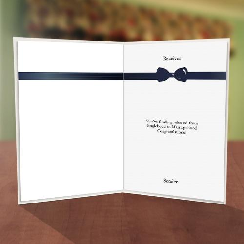 Men's Hat & Bow Tie Bachelor Party Card Inner