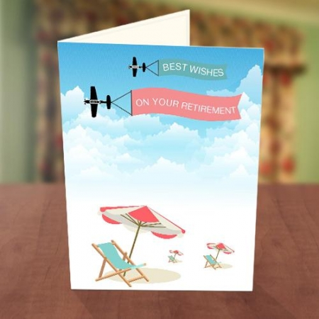 On the Beach & Airplane Retirement Card