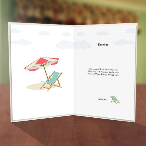 On the Beach & Airplane Retirement Card Inner