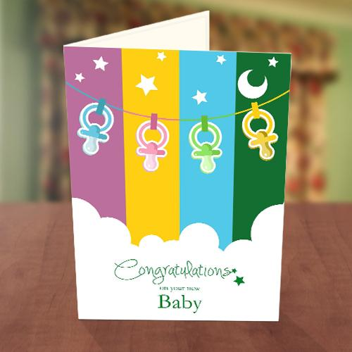 Pacifier Baby Naming Card