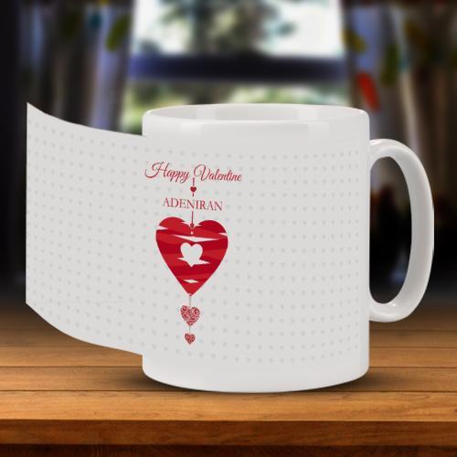 Personalised Ribbon Heart Valentine Mug Full