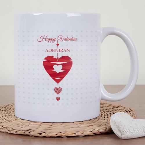 Personalised Ribbon Heart Valentine Mug