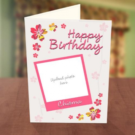 Photo Upload Pink Petals Birthday Card Front