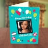 Photo Upload Red & White Balloons Birthday Card Front