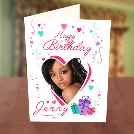 Photo Upload Love Shape & Gift Boxes Birthday Card
