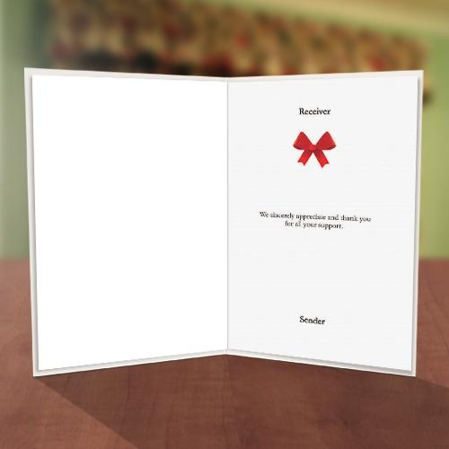 Red Bow Thanks For Coming Card Inner