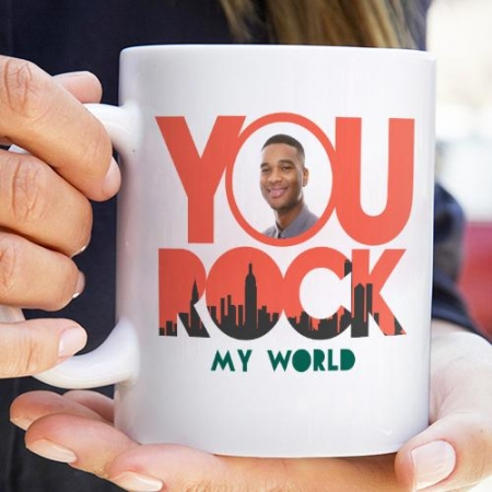 Rock My World Photo Upload Mug