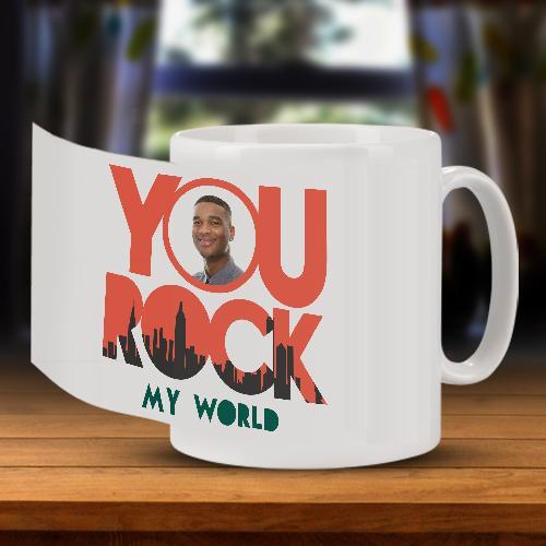Rock My World Photo Upload Mug Full