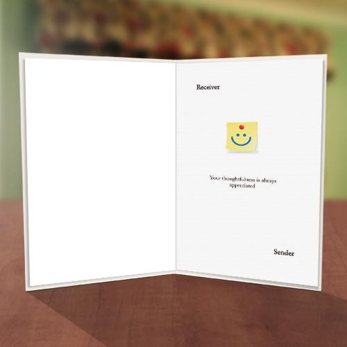 Smiley Stick Note Thank You Card Inner