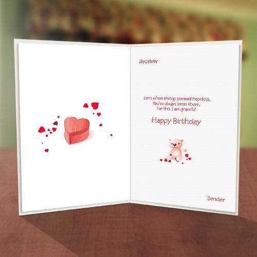 Teddy Bear Gift Box Birthday Card Inner