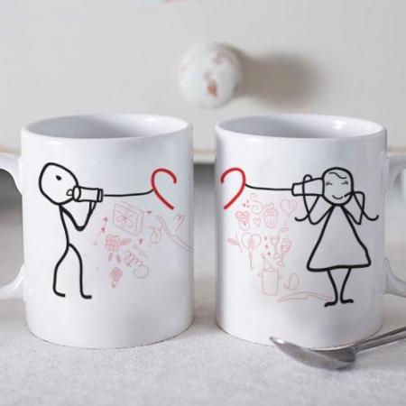 Telephone Love Twin Mugs