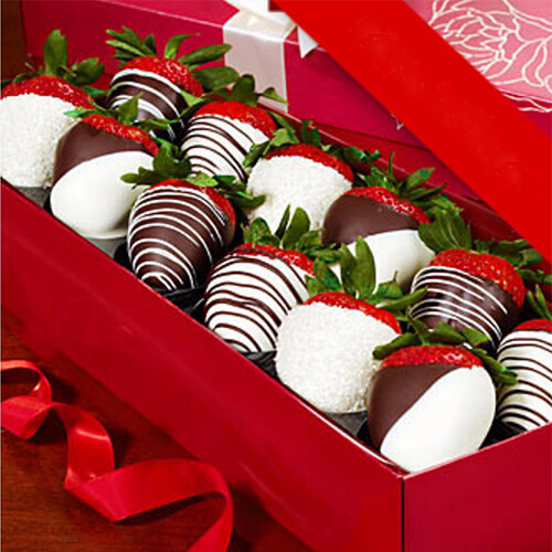 Dipped Strawberries in abox