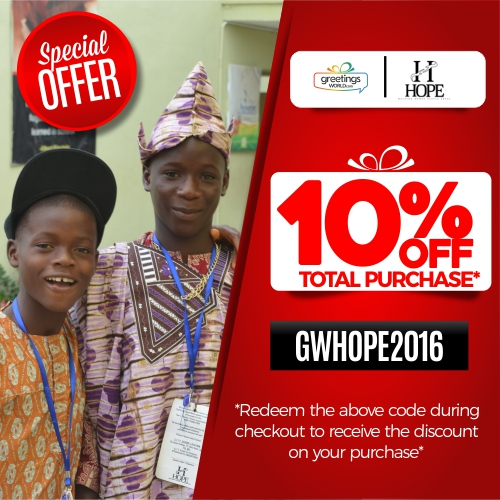 Greetings World gives discount for charity
