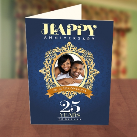 Royal Blue Floral Anniversary Card