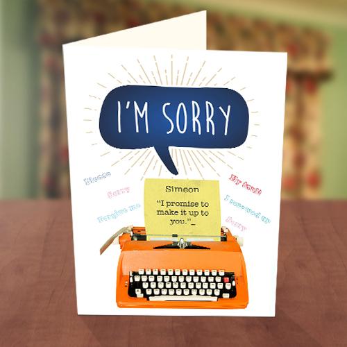 Sorry Typewriter Card