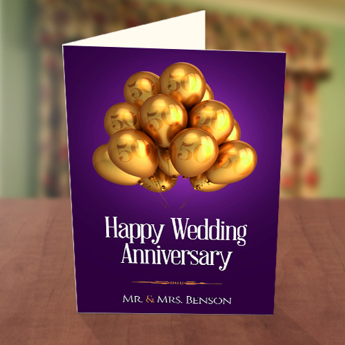 Gold Balloons Wedding Anniversary Card
