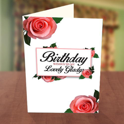 Personalised Pink Roses Birthday Card
