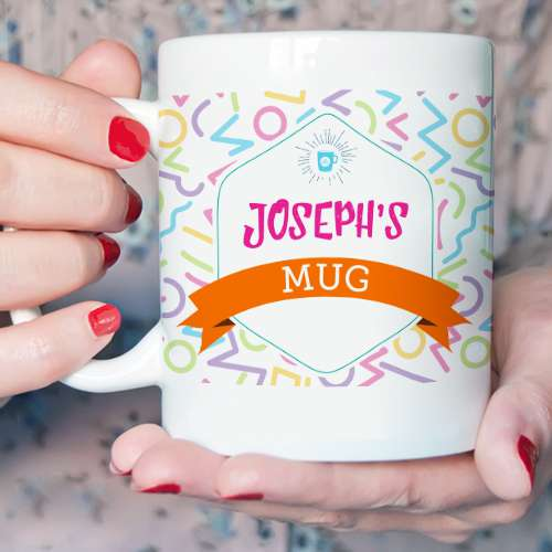 Personalised Memphis Pattern Mug