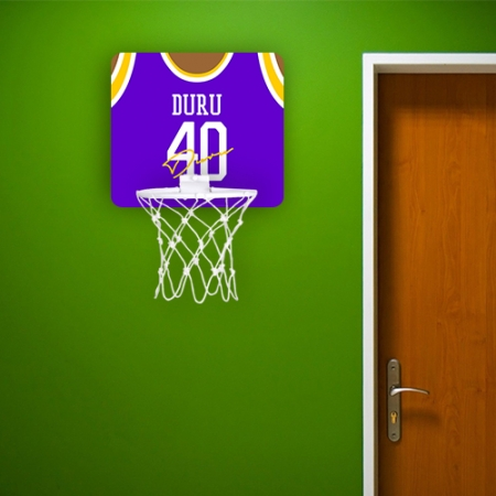 Personalised Blue Autographed Jersey Basketball Hoop