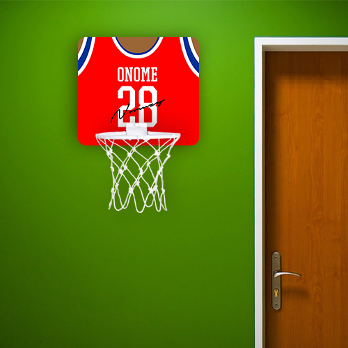 Personalised Red Autographed Jersey Basketball Hoop
