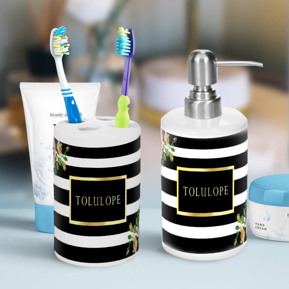Elegant Bathroom Accessories Cheap: Elegant Floral Black And White Striped Bathroom