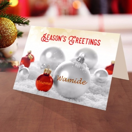 Personalised Christmas baubles card