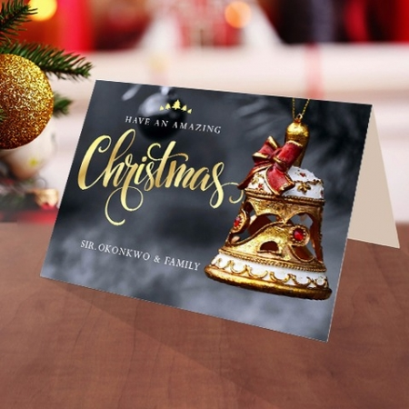 Personalised Golden Christmas ornament card