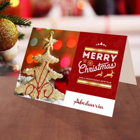 Personalised Golden Christmas tree card